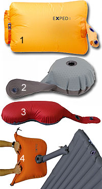 Различные типы насосов для туристических ковриков (швейцарская фирма Exped)