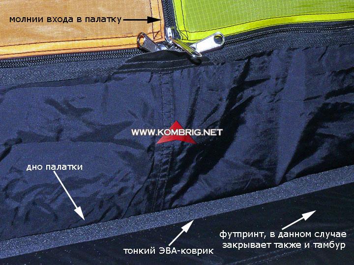 """Использование коврика-""""пенки"""" в качестве меры, предотвращающей образование водяного конденсата на полу внутри палатки"""