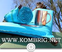 Самонадувающийся коврик Therm-a-Rest в (самостоятельно) наполненном состоянии и в скатанном в рулон виде