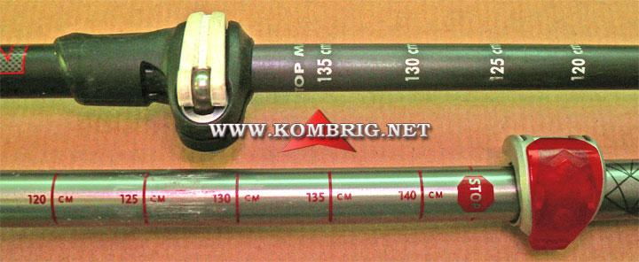 Метки длины на сегментах (коленах) трекинговых палок