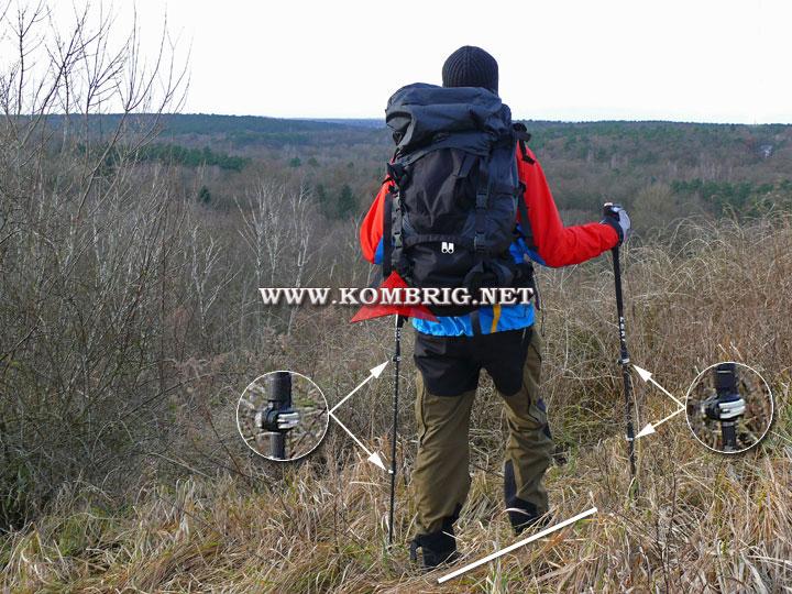 Траверсирование склонов: длина трекинговых палок может быть отрегулирована по-разному