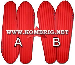Возможные комбинации 2 ковриков Exped SynMat Winterlite MW внутри узкой или зауженной книзу палатки