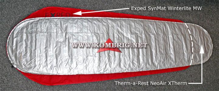 Разница в размерах ковриков Therm-a-Rest NeoAir XTherm (серебристого цвета) и Exped SynMat Winterlite MW (красного цвета) в случае, когда из этих ковриков полностью выпущен воздух